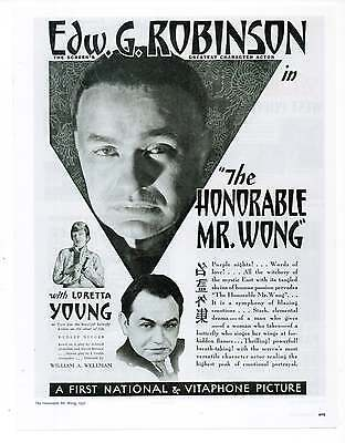 HONORABLE MR. WONG MOVIE AD, Edward G Robinson, Repro 1930's Advertisement Art