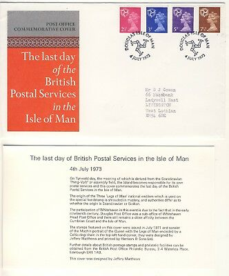 1973 - Cover - Last Day of British Postal Services Isle of Man - Used - A018
