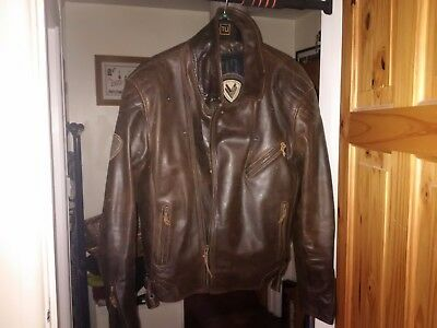 Brown leather motorbike jacket size 44