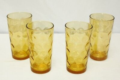 4 Vtg Amber Optic Thumbprint Coin Dot Drinking Glasses Continental Can Co. Retro