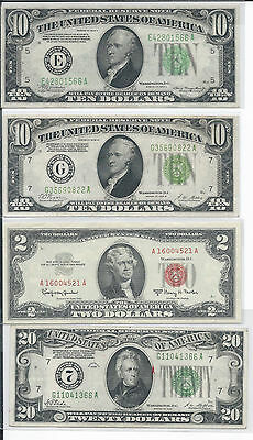 1934A 10$ E, 1963A 2$, 1928 10G & 20$ Numerical 7, Redeemable in gold, XF-AU 00G