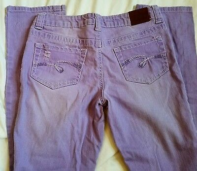 Justice Girls size 12 1/2 Simply Low Straight Jeans Lavender Distressed Spring