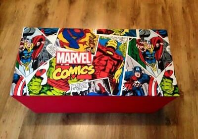 Toy box Marvel. Upholstered wooden toy box ottoman storage trunk Marvel Kids