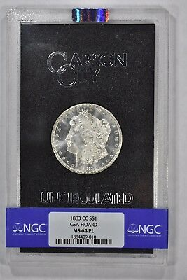 1883 CC Morgan Silver Dollar Carson City GSA NGC MS64PL Prooflike !!