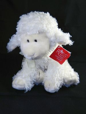"Russ Baasley Lamb White Plush Stuffed Toy Animal 8"" New with Tags"