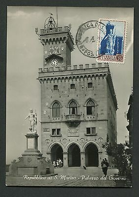 SAN MARINO MK 1954 PALAZZO STATUE MAXIMUMKARTE CARTE MAXIMUM CARD MC CM c8998