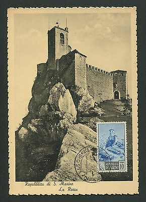 SAN MARINO MK 1949 LA ROCCA PALAST MAXIMUMKARTE CARTE MAXIMUM CARD MC CM c8997