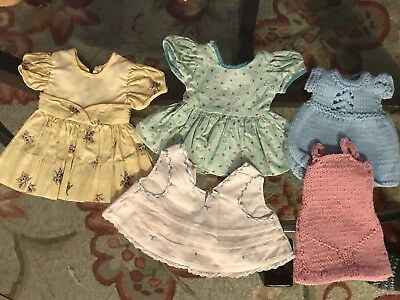 Vintage LOT 5 DRESSES for HP, BABY DOLL, Cotton Print & Hand KNIT, FREE SHIPPING