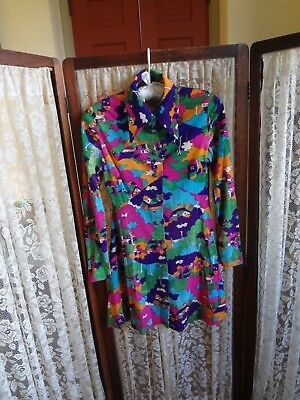 Vintage 60s dress mod boho festival cotton knit blend colorful as is with issues