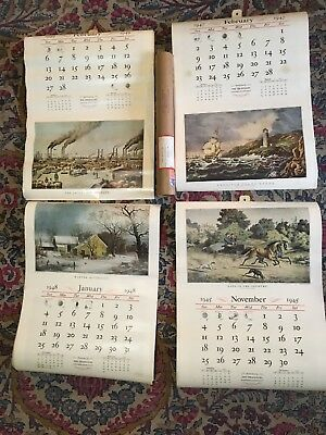 The Travelers Lot of 4- 12 Month Calendars Currier & Ives - Color Prints 40's