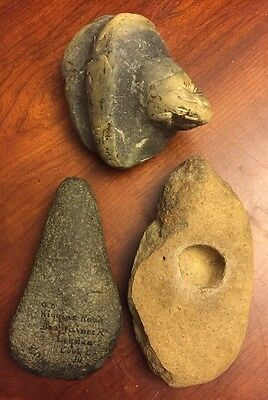 ***collection Of 3 Native American Celt, Grinding Stone & Stone Tool