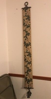 """Vintage Thistle Wall Hanging Scroll Textile Decor W/ Brass Bell-70"""" L X 7-1/2"""" W"""