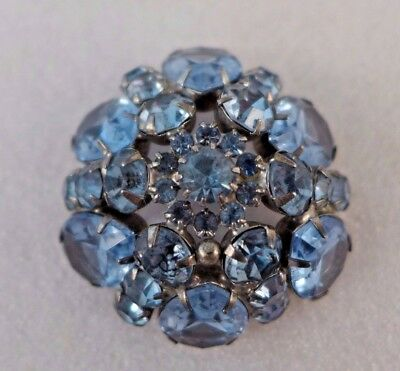 Weiss Signed Blue Rhinestones Brooch Pin Vintage Large