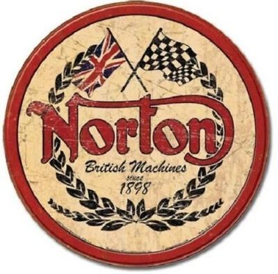 Norton British Motorcycle Metal Tin Ad Sign Retro Bike Garage Shop Bar Decor