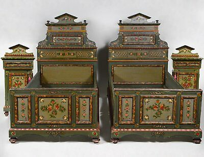 Antique Hand Painted Pair of Beds and Night Stands French or Italian.