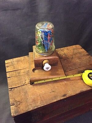 VINTAGE WOOD Wooden  GLASS GUMBALL MACHINE EXCELLENT COND Ball Crystal USA
