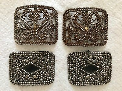 Two Pair Of Antique Art Deco French Steel Cut Marcasite Shoe Clip Buckles
