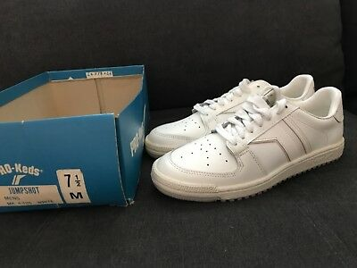 VTG Pro Keds Low Jump Shot Basketball Sneakers Shoes White Leather Sz.7.5 NOS