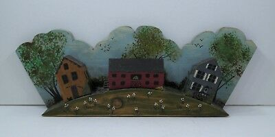 Vintage Folk Art Wooden Colonial Homes Diorama Mantel Display