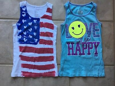 Girls Justice Tank Tops, Size 10, Lot Of 2, Shirts American Flag Blue
