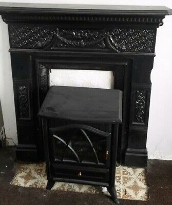 Antique Victorian Cast Iron Wood Burning Fire Place Stove Fireplace Surround