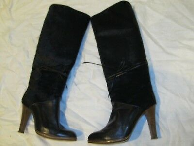 Vintage Sakowitz Black Leather High Heel Fur Boots Size 5.5