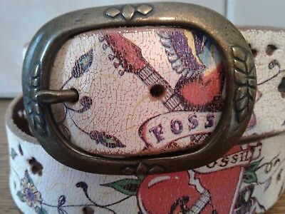 FOSSIL Flower Belt Distressed Genuine Leather Floral Multicolored Sz L Women's