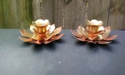 Vintage Pair of Copper & Brass  Flower Shaped Taper Candle Holders