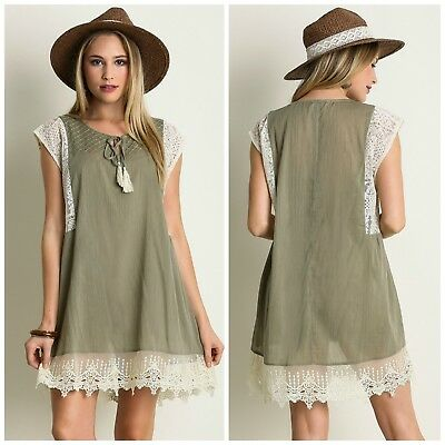 e21824e9c101cb New Umgee Womens Olive Green Sleeveless Top Tunic with Lace Detail Boho  Small