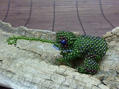 "Beaded Frog Figurine w/ Poseable Tongue Toes / 1.75"" Long x 1.5"" Wide x 1"" Tall"