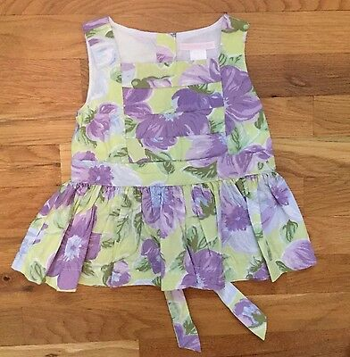Janie and Jack Purple Green Floral Sleeveless Top Girl's (Sz 3) NWOT! Beautiful!
