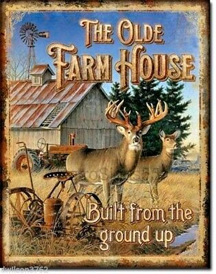 Old Farm House Windmill Picture Metal Tin Sign Deer Barn Rustic Cabin Wall Decor