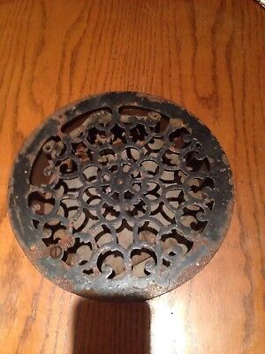 "Vintage Cast Iron Heating Grate/Register Floor Vent  7 1/2"" Bottom Diameter)"