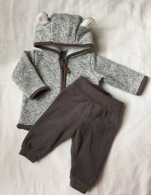 H&M Hooded Jacket And Fleece Pants Set Size 0-1 Months
