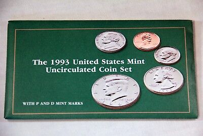 1993 P D US Mint Uncirculated 10-Coin Set Envelop