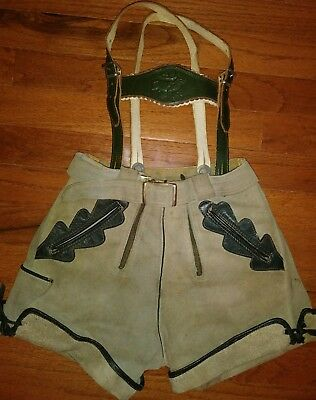 Traditional Antique German Lederhosen Oktoberfest Outfit Boys Size Vintage
