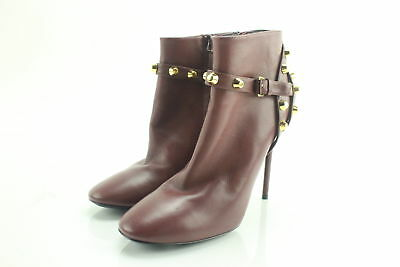 NWT $1005 Valentino Wine Rockstud Burgundy Studded Ankle Booties Size 7.5
