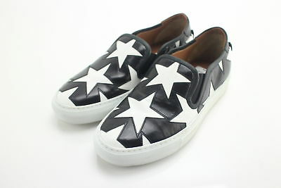 NWT $750 Givenchy Ladies Black & White Star Embossed Slip-On Sneakers Size 6