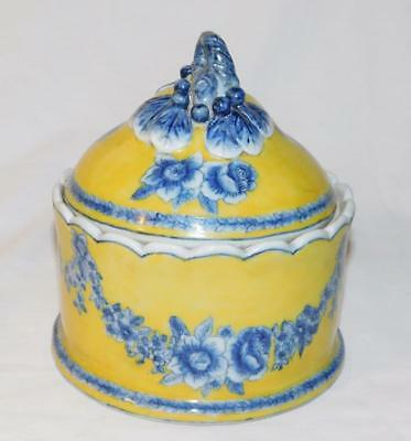 Chinese Yellow Glazed Background Blue & White Floral Porcelain Covered Jar Bowl