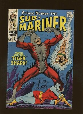 Sub-Mariner 5 FN+ 6.5 * 1 Book * 1st Tiger Shark & Dr. Dorcas! Thomas & Buscema!