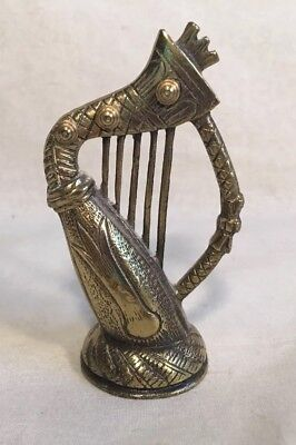 Miniature Solid Brass Welsh Decorative Harp Collectible Made in England Snowdon