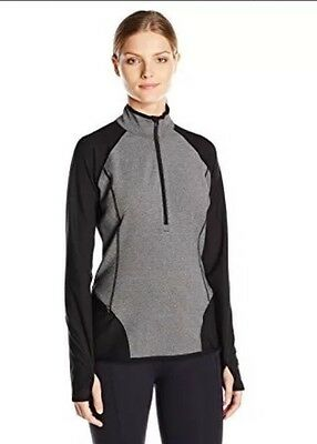 NWT Lucy Revolution Run Half Zip Black & Gray Women's Small S 50% off $109