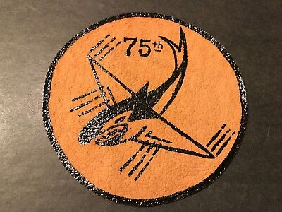 WW2 WWii USAF US AIR FORCE PATCH-75th Fighter Squadron-ORIGINAL! LEATHER BEAUTY!