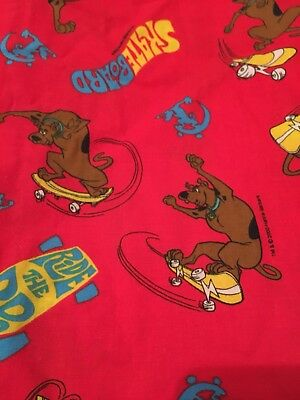 "SCOOBY DOO CURTAIN PANELS Lot Of 2 84"" EACH Skateboard Red EUC"