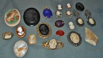 5 DAY AUC  Lot of  Antique & Vintage  Cameo  Repair Part Finding  Jewelry Items