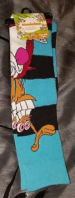 NEW Ren and Stimpy Nickelodeon knee high socks size 9-11
