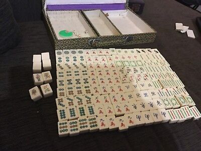 Vintage bone and bamboo Mahjong set in brocade covered case 152 tiles VGUC