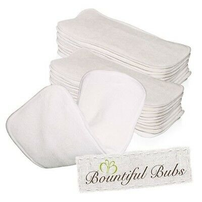 Newborn Bamboo Nappy Inserts, Boosters, x 10. 4 layers, 2 Bmb 2 Mf, Bountiful Bu
