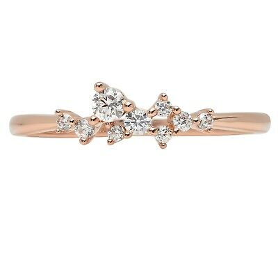 0.18 ct Round Cut Wedding Bridal Promise cluster Pyramid Band 14k Rose Gold