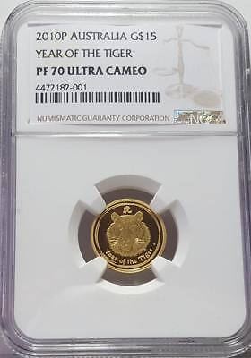 """2010P Australia 1/10 oz. .9999 Gold $15 """"YEAR OF THE TIGER"""" Coin NGC PF 70 UC"""